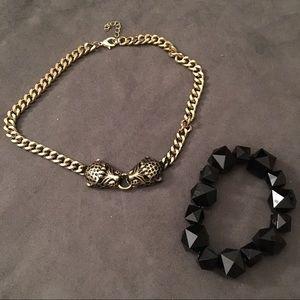 Jaguar necklace and black bracelet set